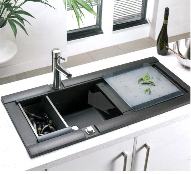 Unique And Innovative Kitchen Concepts Ideas: Innovative Black Acrylic Kitchen Sink Element Design On White Kitchen Cabinet Countertop Ideas