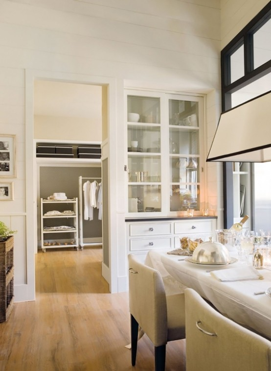 Stylish Design Of A Modern Combined Kitchen And Dining Space: Innovative Modern Kitchen And Dining Space Combined With Big Nice White Dinner Table And White Kitch And Clean Space With Great Lines And Door To Living Room ~ stevenwardhair.com Cabinets Inspiration