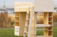 Minimalist Sweet Combination Kids Loft Bed : Inpiring Outside Wooden Loft Green Lawn Unfinished Stuff Liberty Statue