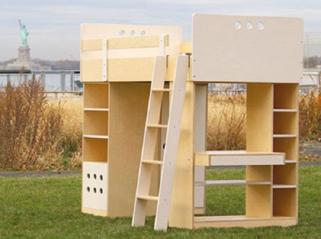 Minimalist Sweet Combination Kids Loft Bed: Inpiring Outside Wooden Loft Green Lawn Unfinished Stuff Liberty Statue