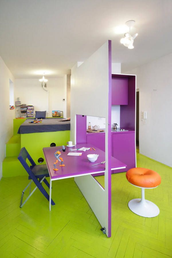 Small Apartment Design And Decoration : Inspirating Colorful Small Apartement Folding Tabel Room Divider Yellow Coated Flooring Purple Kitchen Cabinet Orange Round Chair Blue Folding Chair