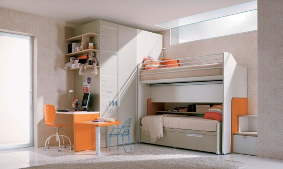 Room Design For Kids: Inspiration Simple Teenage Kids Bedroom With Greyrug Desk Combination Drawers And White Wall Cabinet