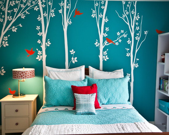 Beautiful Turquoise Girls Room: Inspired Girls Bedroom That Is Both Beautiful And Contemporary With A Bright Turquoise Wall Became The Backdrop A Large White Tree And Redbird Wall