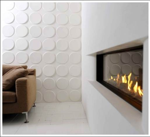 3D Wall Tile Design Ideas For New Dimension Of Wall Decor: Inspiring A Circular Pattern Embossed 3D Wall Tile Design That Inspirated From Bubble Wrap On Modern Living Room With Sofa And Fireplace Ideas