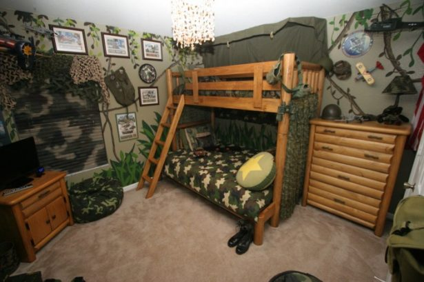 Inspiring Army Style Boys Room Designs Ideas Bunk Bed Wooden Style Custum Paint Wallpaper With Army Stuff Wall Decoration