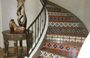 Floor Tiles Stairs Design Ideas : Inspiring Beautiful Mediterranean Staircase With Pattern Floor Tiles Stairs And Wooden Laminate Floor Plus Railing