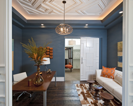 Some Interesting Pictures About Recessed Ceiling Design : Inspiring Blue Wall Contemporary Home Office With Ceiling Light And Frosted Glass Pocket Door And Recessed Ceiling Designs Geometric Pattern