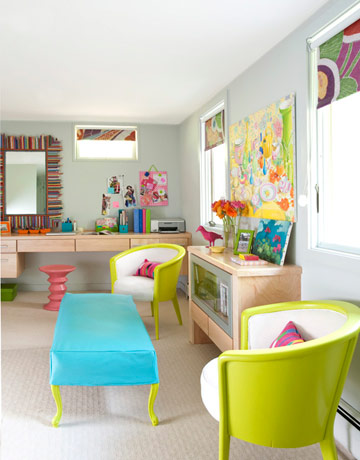 Bold Bright and Colorful Basement Bedroom Design: Inspiring Bold Colorful Basement Bedroom Design Flooring And Decorative Mirror Moulding Contribute Unique Style And Desk Which Blends Color And Chair With Long Study Desk