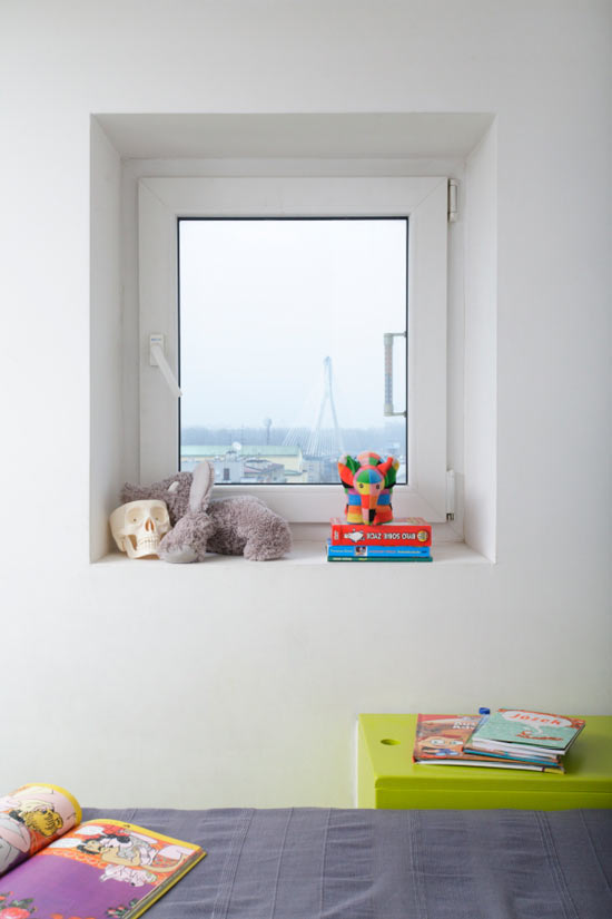 How To Make Your Small Apartment Interior Cheerful And Fun To Live With: Inspiring Cheerful Apartment Interior Design With Tiny Window That Can Be Opened To Get Fresh Air And Nice Bed