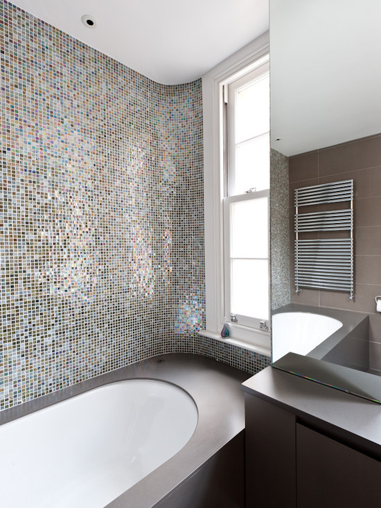 Beautiful Mosaic Ideas For Bathrooms: Inspiring Contemporary Bathroom Mosaic Ideas For Bathrooms This Tiled Wall Bounces The Light Around The Room