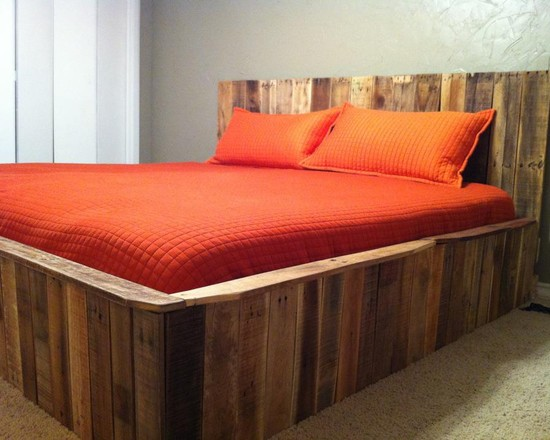 Exciting Pallet Wood For Home Decorating And Furniture: Inspiring Contemporary Bedroom Orange Mattress And Pillow At Bed Built From Pallet Wood