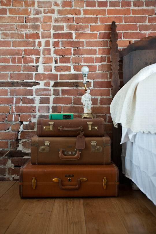 Alternatives Bedside Table Design Ideas: Inspiring Cool Bedside Table Ideas Of Brick Wall And Wooden Flooring Bedroom Design By Pile Up 3 Old Suitcases