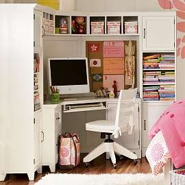 Build Your Desk In A Closet: Inspiring Desk In Closet Ideas Corner Room Area Chair Rug Computer Wooden Flooring