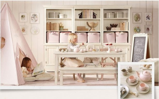 Attractive Personal Design Room For Girls To Show Their Emotions: Inspiring Girls Playroom Teepee Traditional Little Girls Rooms With Wonderful White Fur Rug From Italy And Vharming White Cabinets And Table ~ stevenwardhair.com Bed Ideas Inspiration