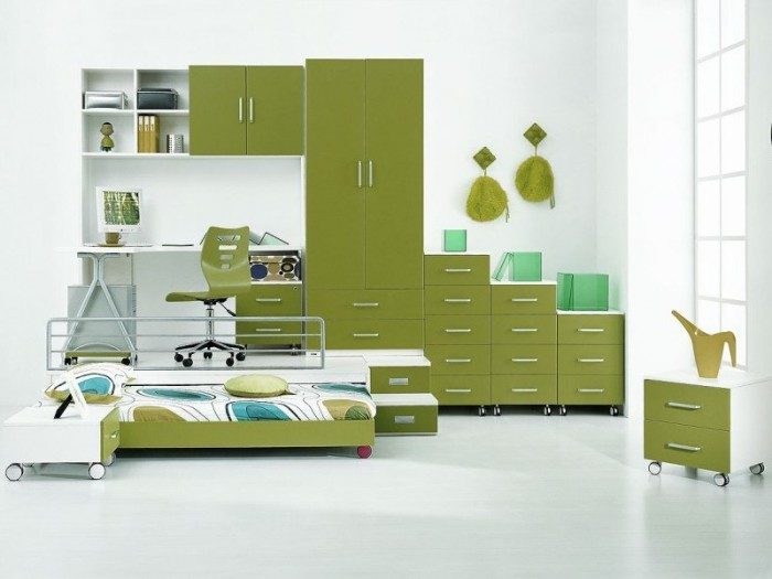 Innovative Boys Room Decoration with Unique Ideas : Inspiring Green Mobile Storage Bed Boys Room Designs Ideas Removable Custom Cabinet Bright White Painted Wall
