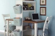 Pictures Of Home Office Desk Design Ideas : Inspiring Home Office Desk Design With Laptop Chair Book Shelf Storages Wooden Flooring Ideas