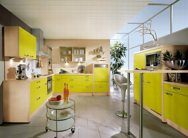 Kitchen Tile Flooring Designs Ideas: Inspiring Kitchen Tile Flooring Design With Surprising Yellow Color Cabinetry Chairs Glass Wall Ideas