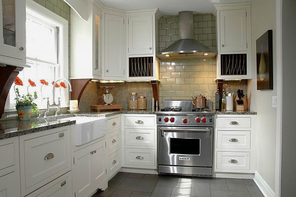 Kitchen Tile Flooring Designs Ideas: Inspiring Kitchen Tile Flooring Subway Tiles Design With Marble Countertop Kitchen Cabinet Ideas
