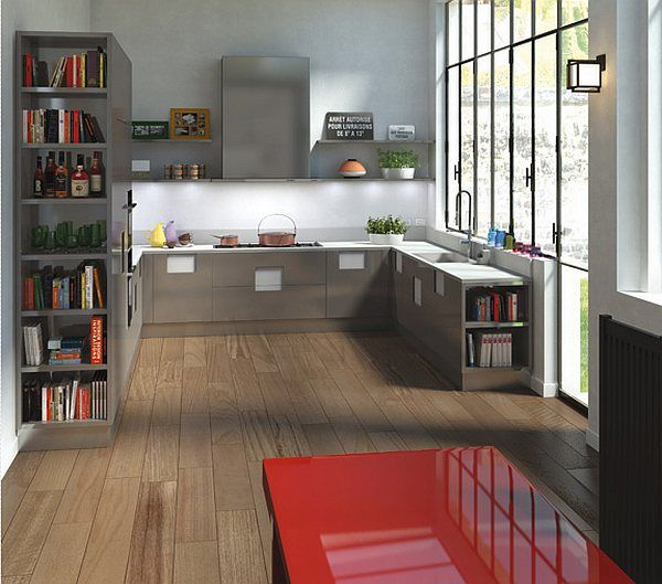Modern Kitchen Design: Inspiring Modern Kitchen Design 18 Cabinets Bookshelves Shelf Tempered Glass Wall Backyard View Wooden Flooring Ideas ~ stevenwardhair.com Chairs Inspiration