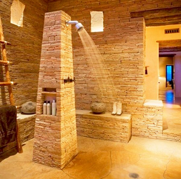 Open Shower Bathroom Design Ideas : Inspiring Open Shower Bathroom Design With Ladder For Towel Natural Stone Wall Jar Seats Natural Stone Flooring Ideas