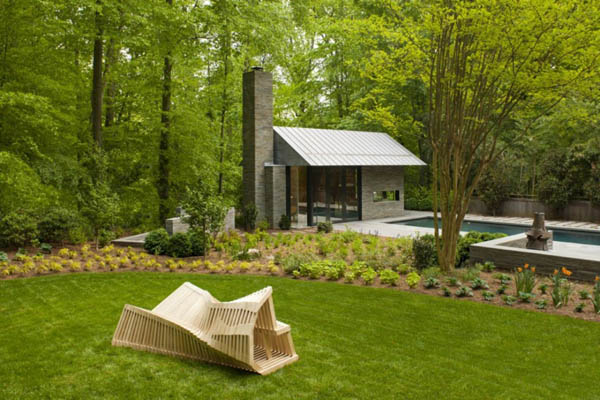 Inviting Backyards Ideas: Inspiring Pool and Garden Pavilion Design : Inspiring Pool And Garden Pavilion Geometry For Inviting Backyards Design Surrounding By Mature Tree