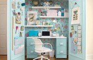 Cute home office ideas : Inspiring Secret Compact Home Office In A Closet With Blue Flower Decorated Wall Use Small Desk Alongside Small Boxes