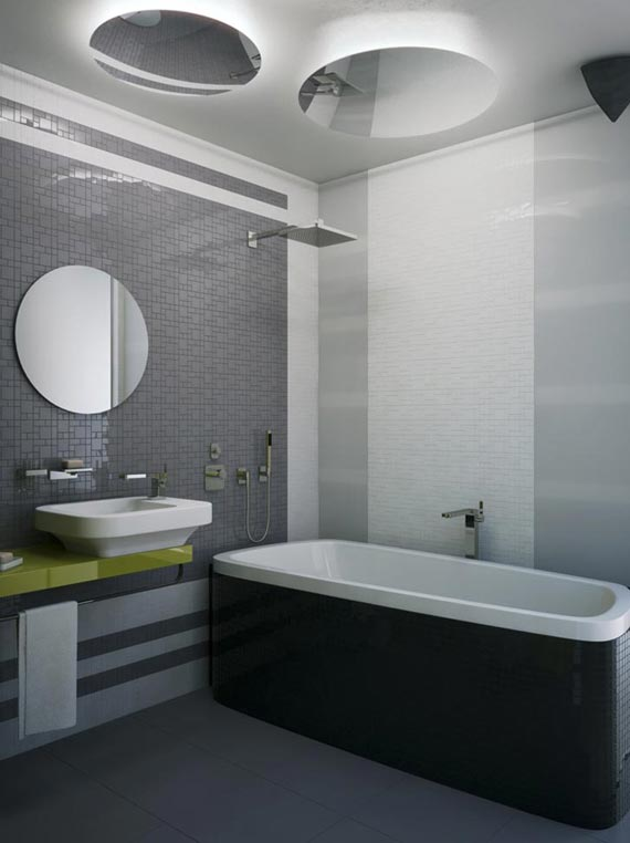 Awesome Bathroom Design For Small Apartment: Inspiring Small Apartment Bathroom Design With Vessel Sink Mirror Mosaic Tile Wall Bathtub With Mirror On Ceiling Ideas ~ stevenwardhair.com Apartments Inspiration