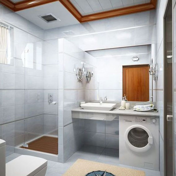 Small Bathroom Design Ideas: Inspiring Small Bathroom Interior Design Shower Washing Machine Sink Mirror Ceiling Tile Wall Tile Flooring Lamps Floor Mat Ideas