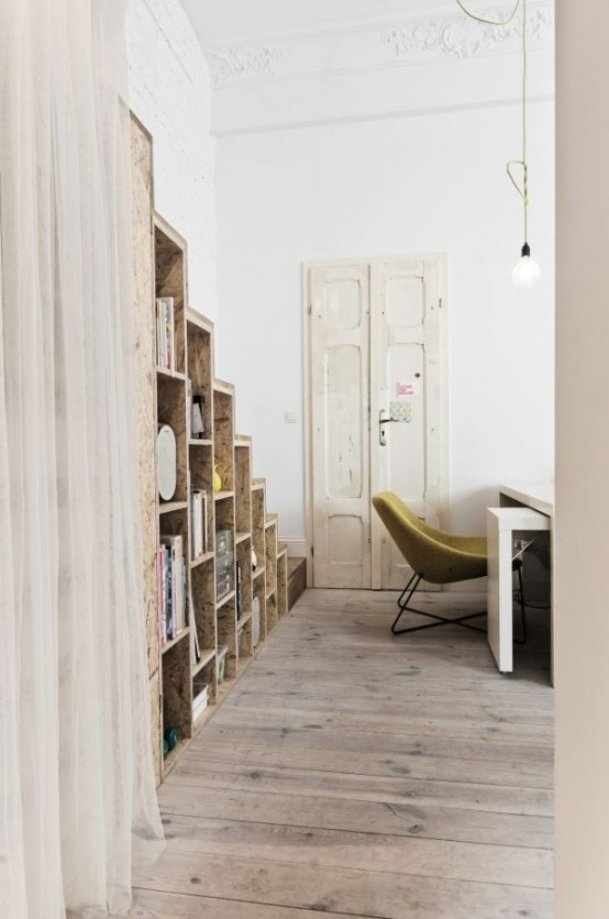 Smart And Creative Design Of Small Apartment: Inspiring Smart And Creative Study Room Design Of Small Apartment With Simple Fur Chair With Custom Built It Bookshelves With White Curtain Divider And Parquet ~ stevenwardhair.com Apartments Inspiration