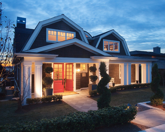 Amazing Home With Double Front Doors: Inspiring The Gambrel Roof Home Traditional Exterior Facade At Nightfall With Perfect Color Red Of Double Front Door
