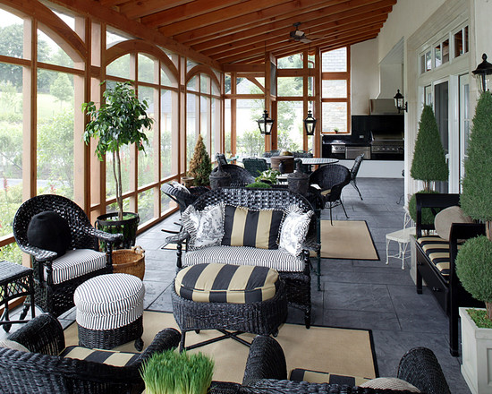 Very Cool Round Wicker Ottoman : Inspiring Traditional Porch Round Wicker Ottoman The Dark Wicker And The White Cushions Really Feels Crisp Black Wicker Furniture On Black Slate Tiles A Good Idea