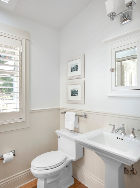 Excellent Vinyl Wainscoting Panels For Your Beautiful Home Decor: Inspiring Traditional Powder Room Vinyl Wainscoting Panels Lustrates Classic Painted Wood Could Match Painted Elements To Your Windows Champagne Colour