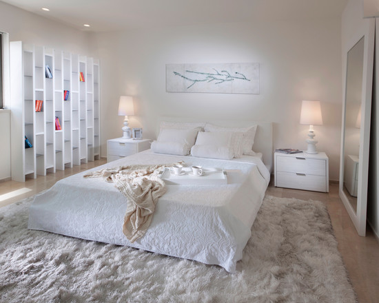 Extraordinary Fur Area Rug At Home: Inspiring White Contemporary Bedroom Furry Area Rugs With White Bed And Pillow Desk Lamp Side Table With Drawer White Shelves And Luxurious Furry Rugs