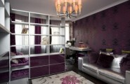 Modern Bedroom Set In Bulk : Interesting Color And Theme Ideas For A Teenage Bedroom With Hangging White Bookshelf With White Sofa With White And Purple Picture Color Wall