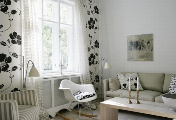 Attractive Nature Themes Minimalist Concept Of A House Design : Interesting Concept Of A House Design With Floral Pattern Wallpaper Wooden Table Elegant Sofa Spotted Pattern Curtain Arch Lamps Nice Reading Lap