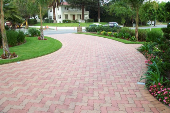 Cool Paving Stone Driveway Ideas For Home Design: Interesting Great Strong Material Paving Stone For Driveways Colored Stones Surrounded By Pavers Of Stained Concrete Create The Illusion Of A Stream