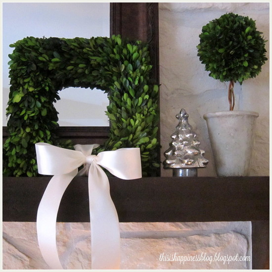 Cozy Bayleaf Wreath: Interesting Living Room Bayleaf Wreath Square Boxwood Wreath Leaned On Mantel And The Glass Antiqued Mercury Christmas Tree Is A Favorite Of Mine As Well