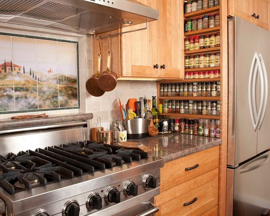 Excellent Wall Hanging Spice Racks: Interesting Mediterranean Kitchen Wall Hanging Spice Racks Great Built In Spice Rack And Italian Tile Mural Spices On Side Of Stove