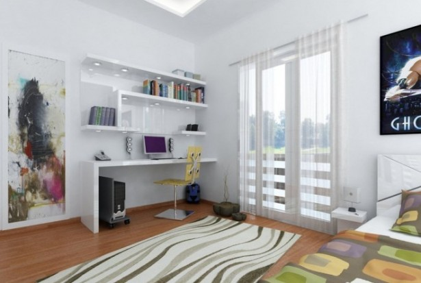 Splendid Modern Workspace Inside Your House: Interesting Room And Great Flooring Design Ideas And Young Workspaces White Curtain Creative Book Shelves ~ stevenwardhair.com Office & Workspace Design Inspiration