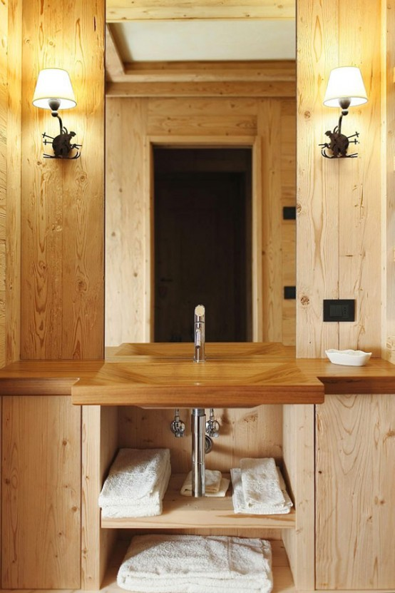 Natural Rustic Wood Apartemen: Interesting Rustic Apartment In Natural Wood Wth Handwash And Beaty Wall Light And Wooden Towel Cabinet