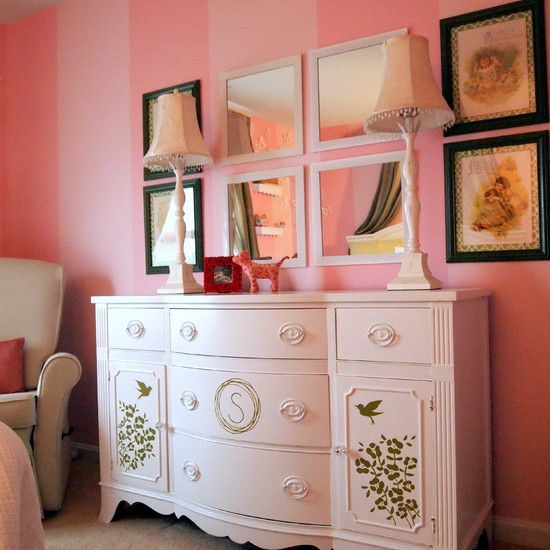 Cozy Small Dresser With Mirror : Interesting Small Dresser With Mirror Refinished Buffet Turned Into Dresser At Pink Room