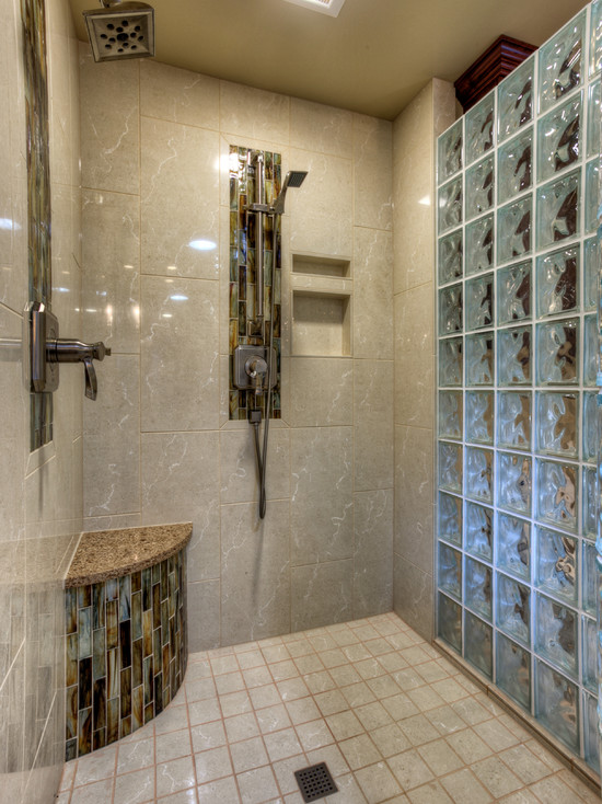 Interesting Photos Of Glass Block Showers : Interesting The Glass Block Shower Enclosure Features Dual Shower Heads With A Curved Corner Seat At Traditional Bathroom