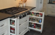 Interesting Kitchen Cabinet Pull Out Spice Rack : Interesting Traditional Kitchen Kitchen Cabinet Pull Out Spice Rack Plain Front For The Spice Drawers Fits Well With Cabinets Two Large Drawers And Pullout Spice Racks On Each Side