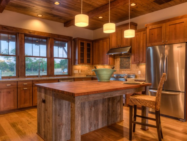 Fabulous Of Reclaimed Wood Kitchen Cabinets : Interesting Warm And Inviting Reclaimed Wood Kitchen With Reclaimed Wood Counter Tops Cabinetry And Island Tops And Reclaimed Beamed Ceiling With Old Floorboards And Pendant Lights And Window