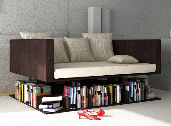 Tips To Become An Interior Decorator: Interior Decorator Design Cool Sofa Levetating Above The Bookshelf Design Ideas