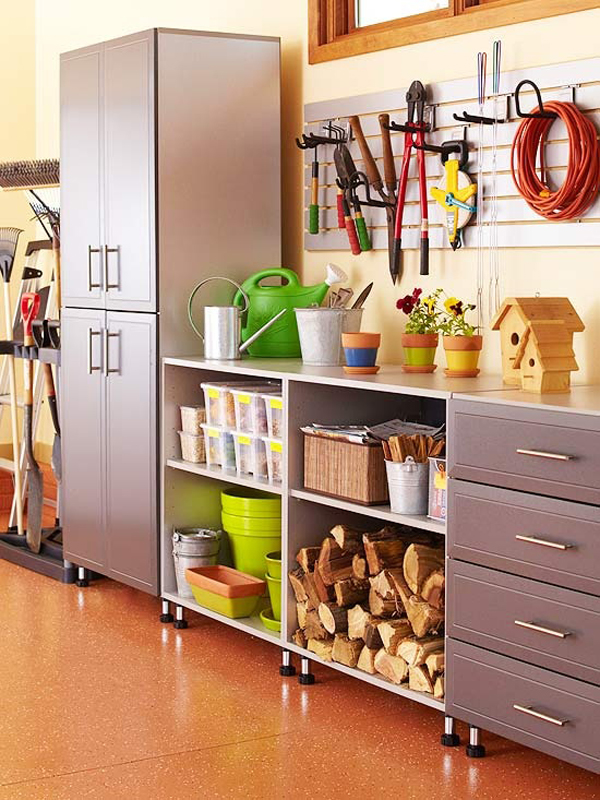 Tips To Become An Interior Decorator : Interior Decorator Design Cozy Garage Cabinet Tools Tile Floors Ideas