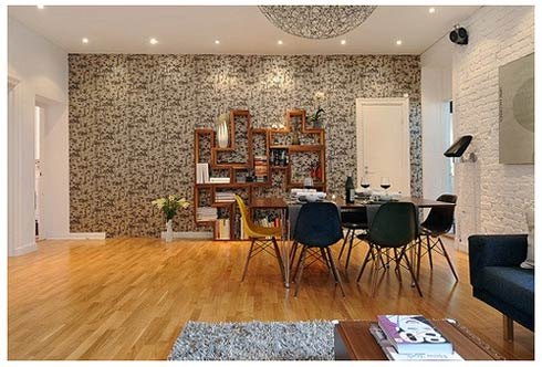 Tips To Become An Interior Decorator : Interior Decorator Design Cozy Living Dinning Room Table Chairs Sofa Book Shelves Brick Wall Mosaic Wall Wooden Flooring Ideas