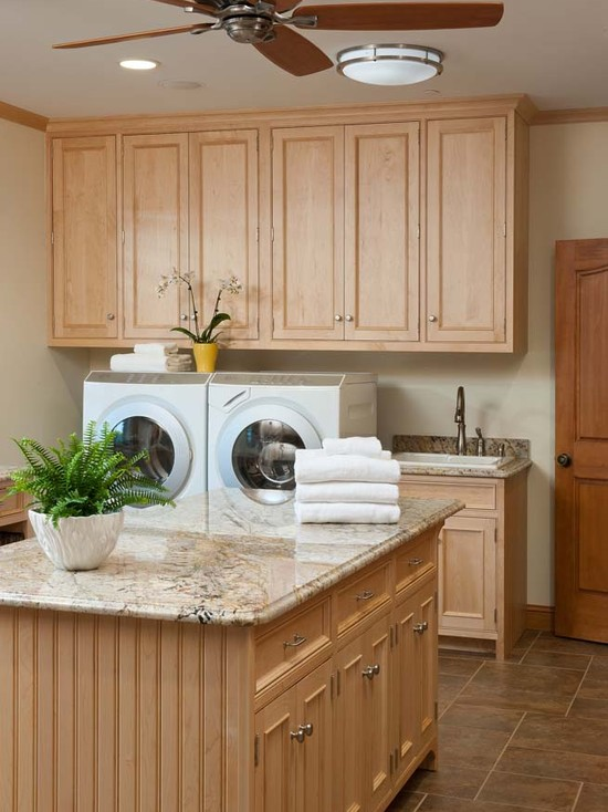 Interesting Laundry Room Folding Tables: Island In Laundry Room For Folding In Addition To Craft Table At Traditional Laundry Room With Pretty Cabinet Color
