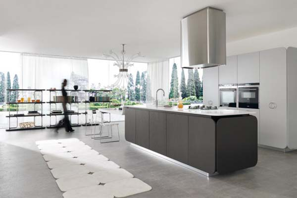 IT-IS Kitchen, Cooking With Love : IT IS Kitchen 11 Amazing Euromobil Modern Kitchen Design With Cool High End Kitchen Furniture Shelves Table Chairs Kitchen Island Chandelier Rug Glass Wall Curtain Exhaust Ideas