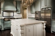 Beautiful Light Green Color For Kitchen Cabinets : Kaitlyn Traditional Kitchen With Light Green Cabinets White Island And Classic Chandelier